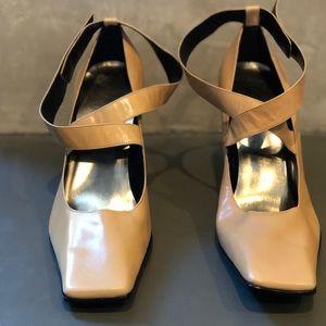 Nine West Square Toe Heels -Tan